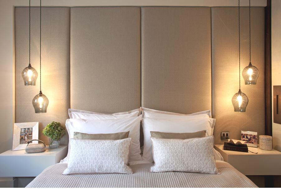Oversized Bedhead With Pendant Lights   Heidi Kinsella Via Pinterest