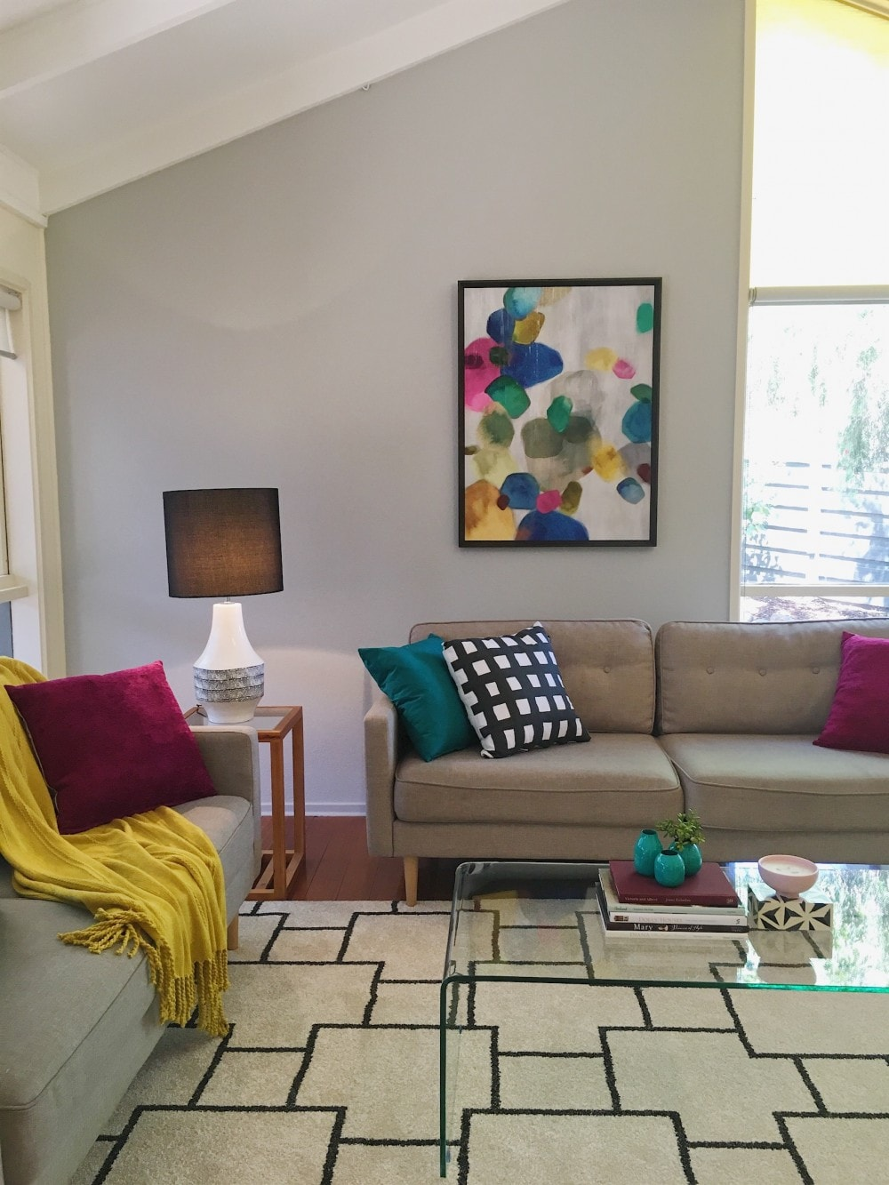 living room with lots of colour and pattern property styling Melbourne