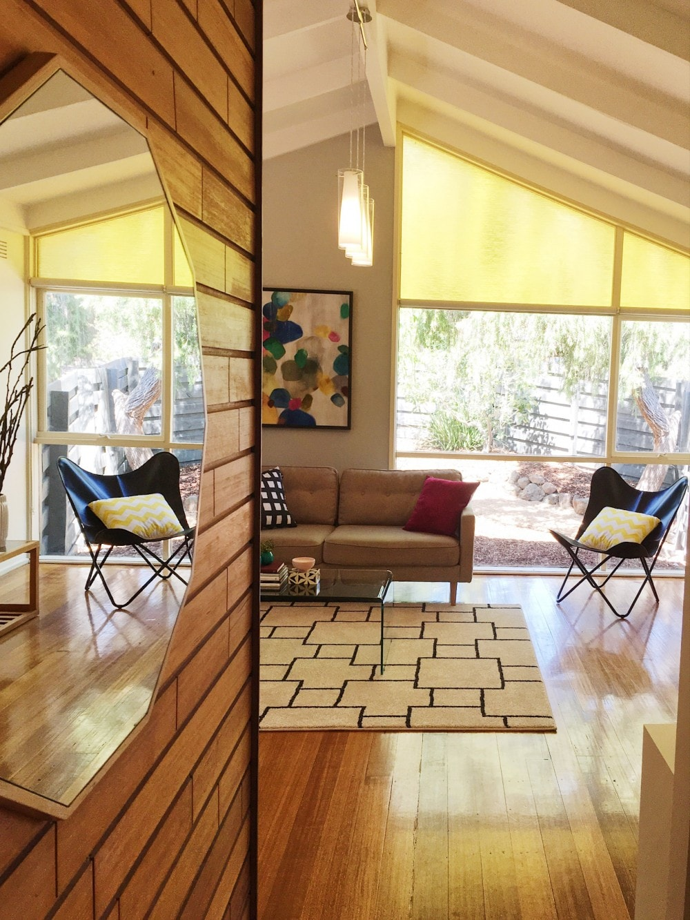 Living room in retro home property styling interior design melbourne