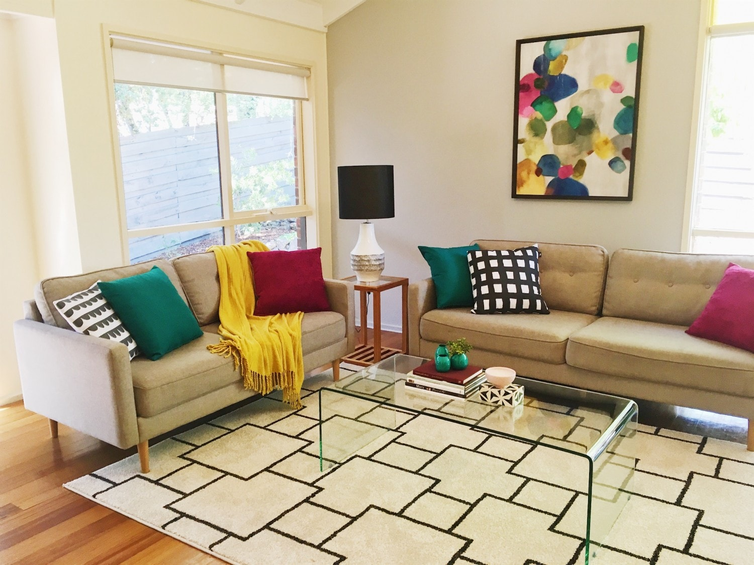 Living room with lots of colour Interior Design Melbourne Property Styling