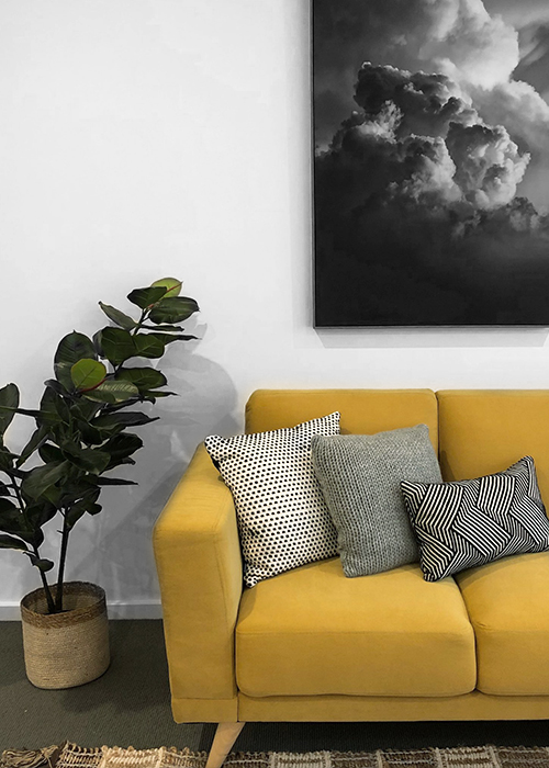 Mustard sofa - Melbourne Home Staging - Leeder Interiors