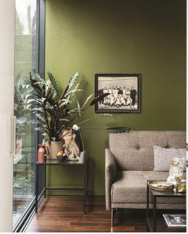 olive green interior - eclectic interior design - Leeder Interiors