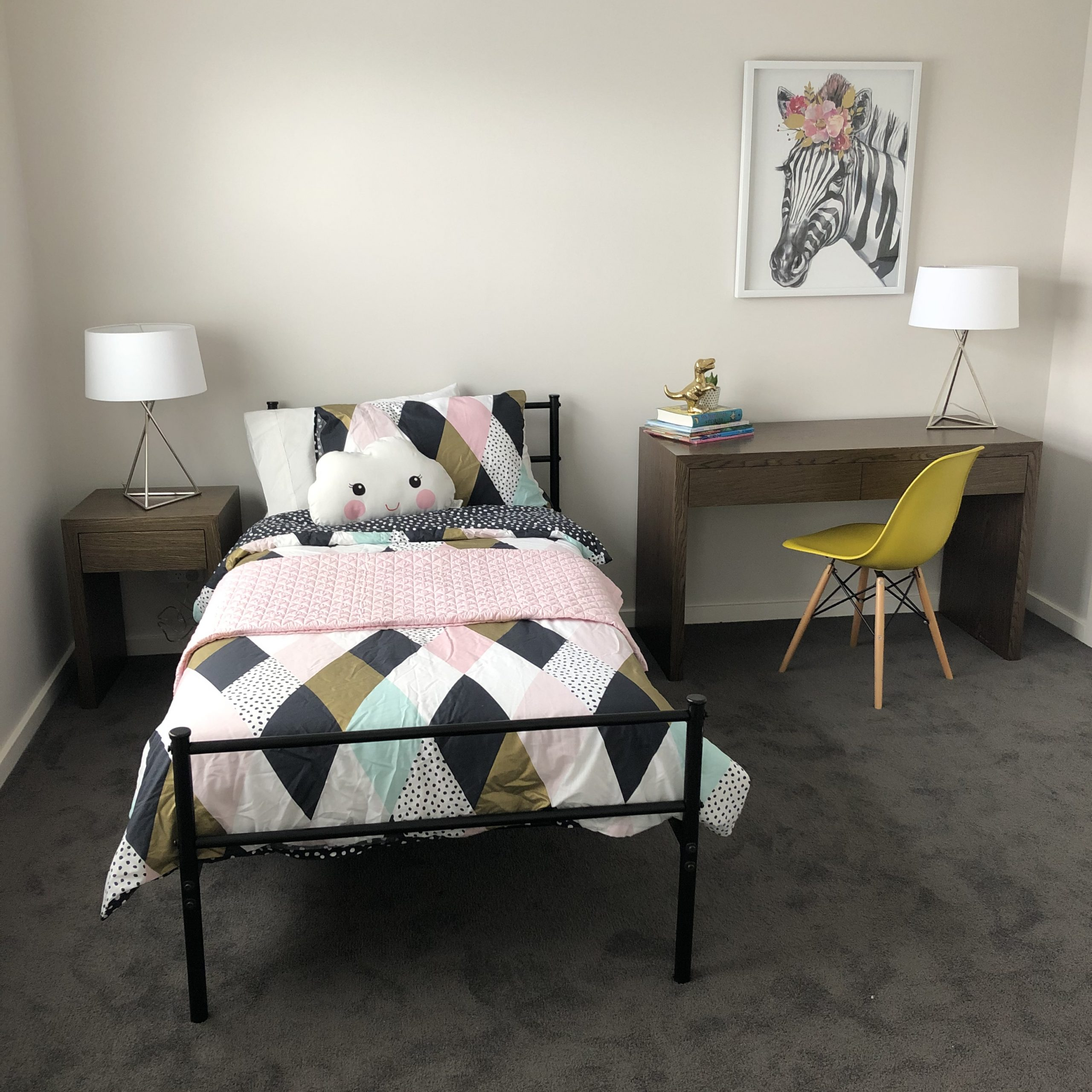 styled childrens bedroom with desk space - Melbourne Home Staging - Leeder Interiors