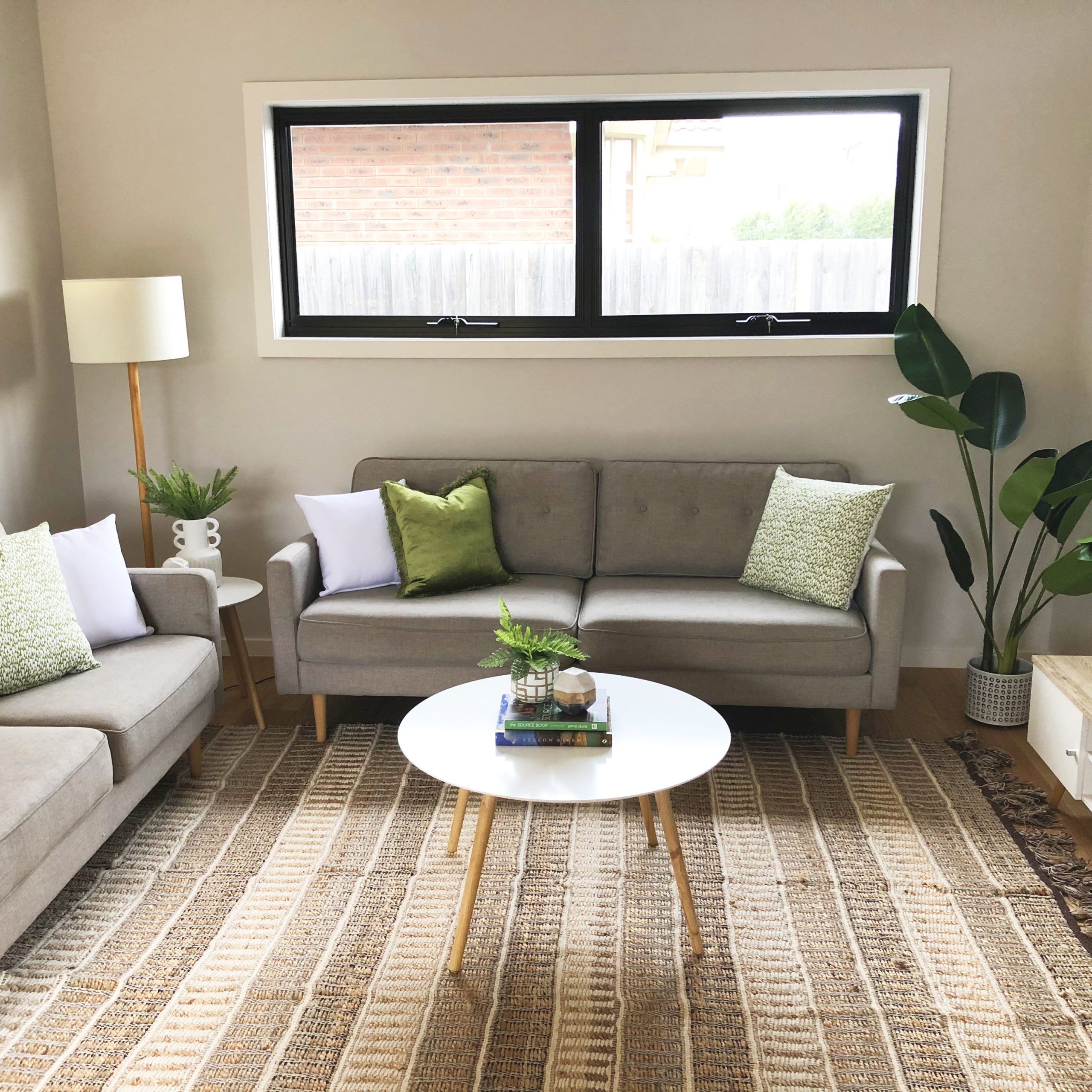 Styled Living room with green accents Heidelberg heights townhouse