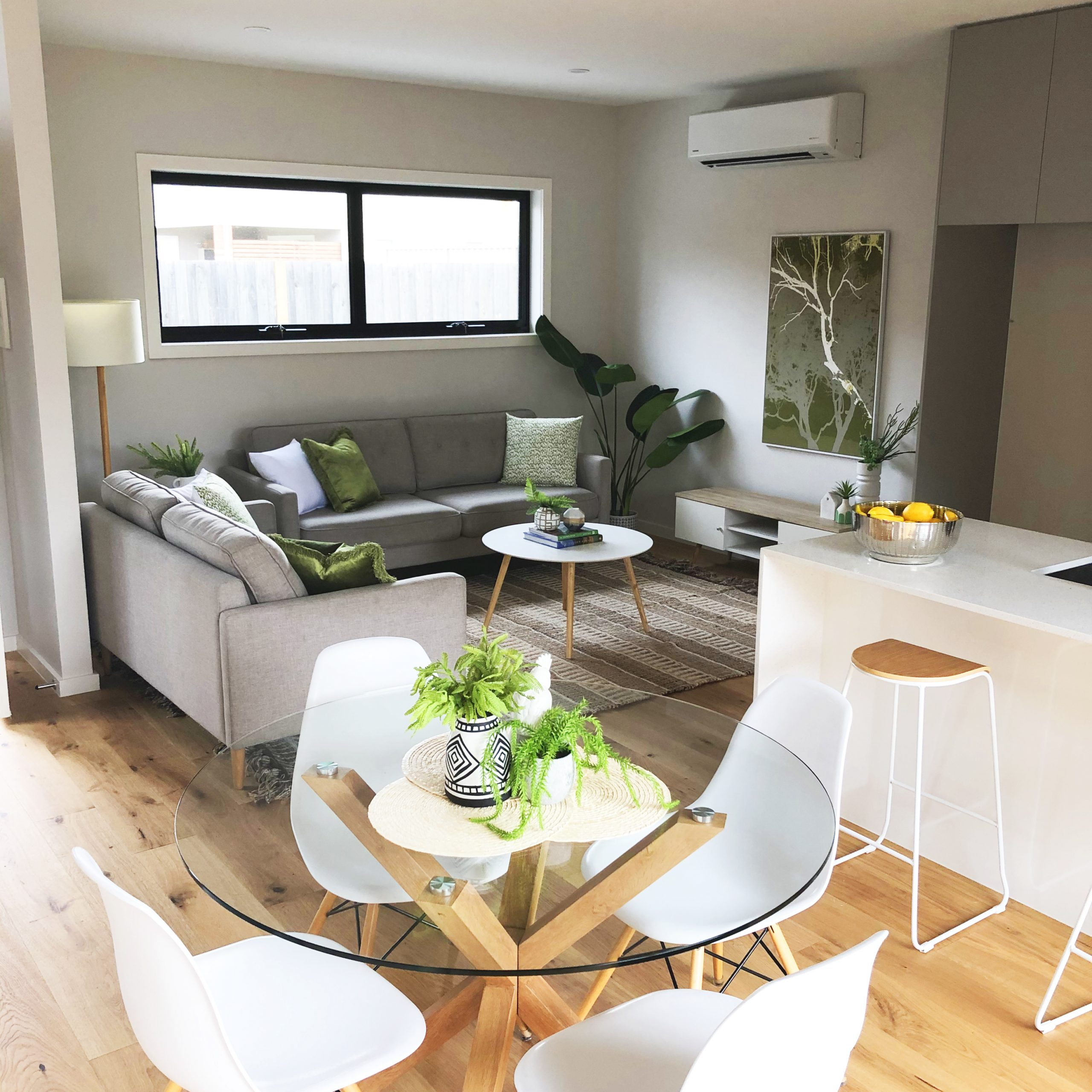 Open plan living room with meals area