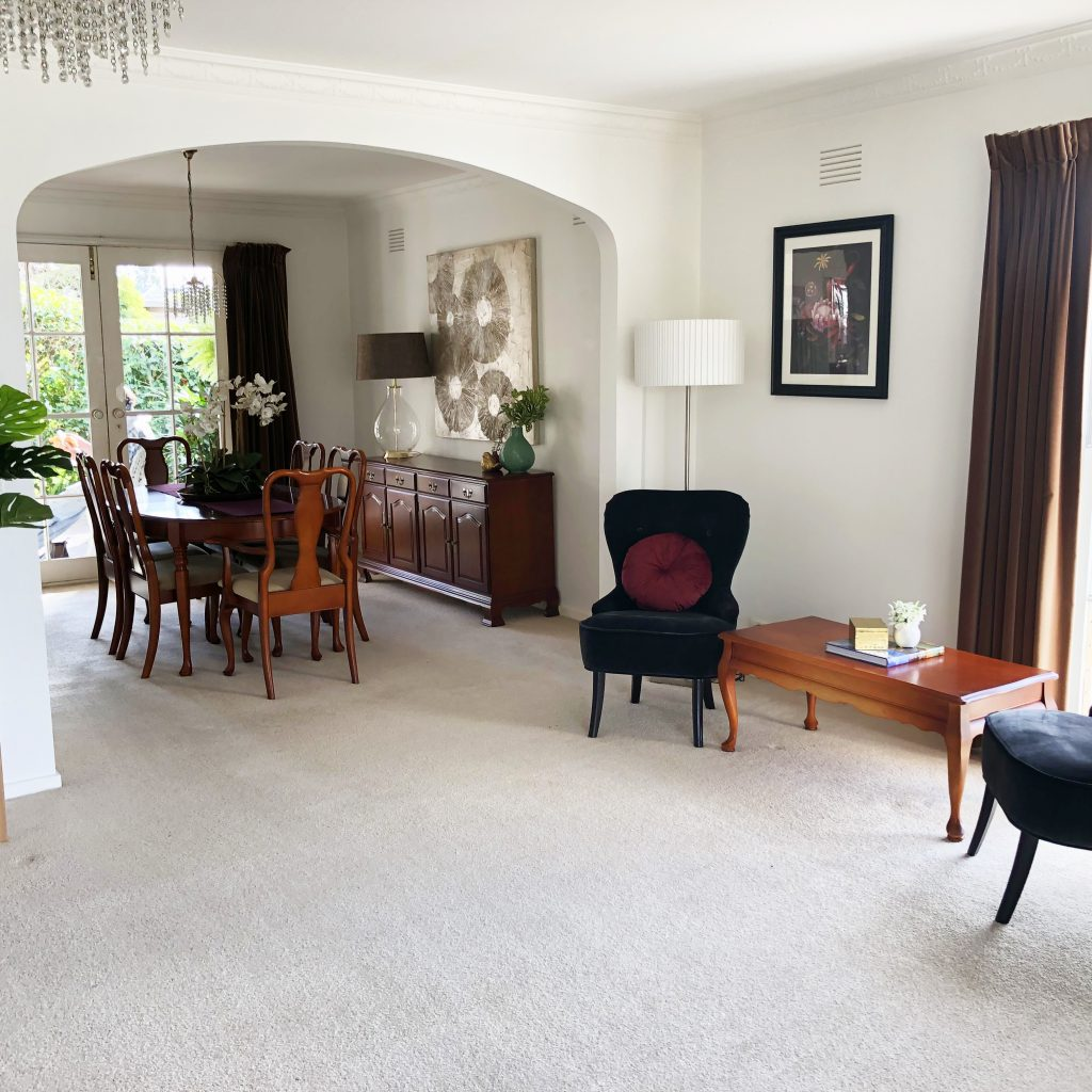 Traditional living and dining room - Melbourne Home Staging - Leeder Interiors