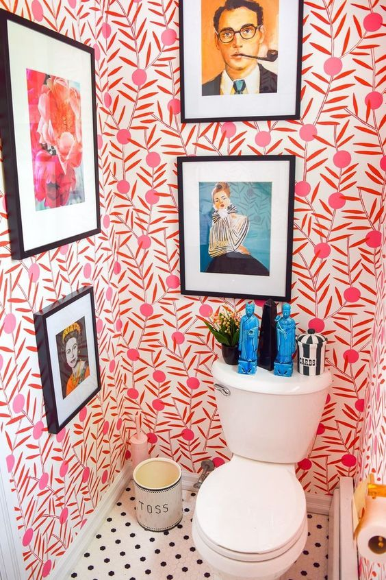 Toilet with red and white wallpaper and polka dot floor - Eclectic Interior Design - Leeder Interiors