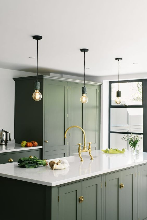Olive green kitchen - colourful interior design - Leeder Interiors