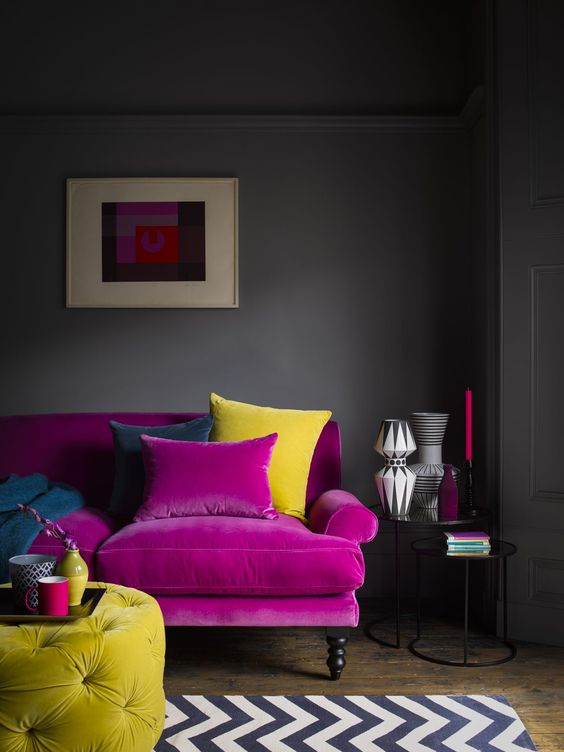 A moody living room with a purple sofa - Interior Decorating Service - Leeder Interiors