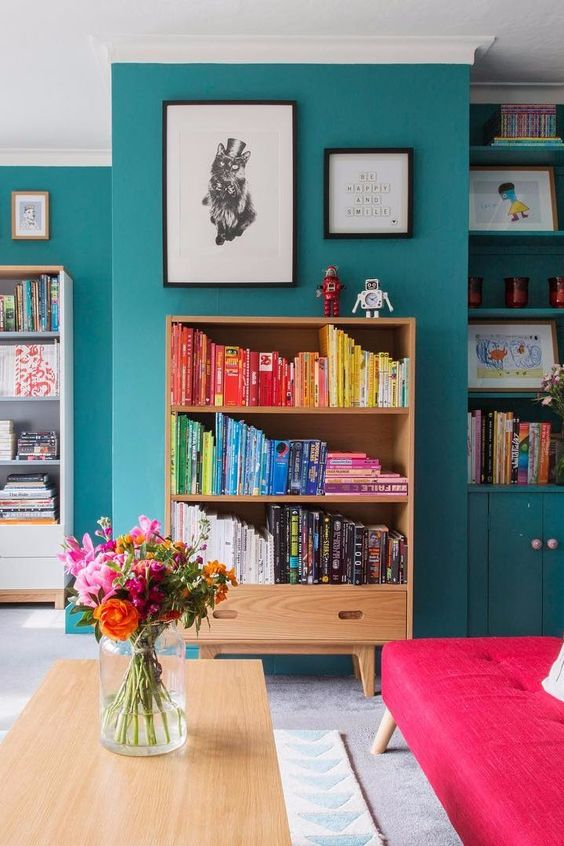 a colourful teal maximalist interior