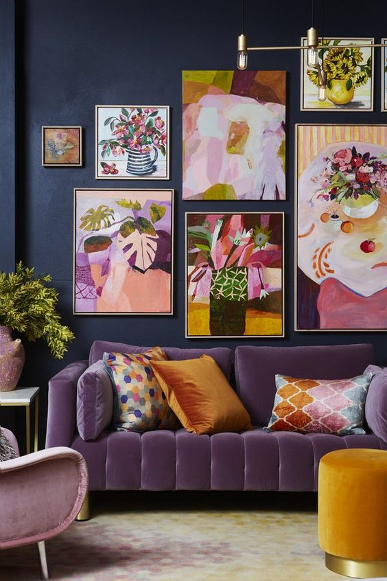 A moody yet colourful maximalist living room