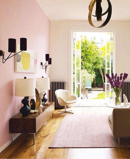 Mid century styled living room with Pink Walls - Interior Design Melbourne - Leeder Interiors