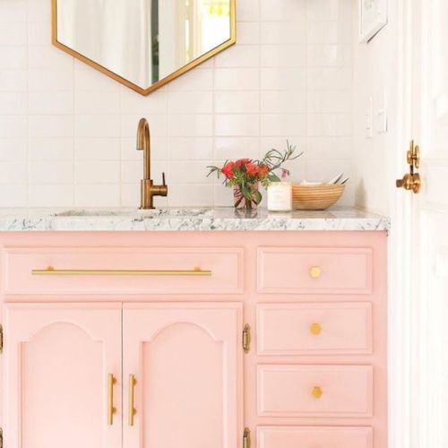 A white bathroom with a pink vanity - Interior Design Melbourne - Leeder Interiors