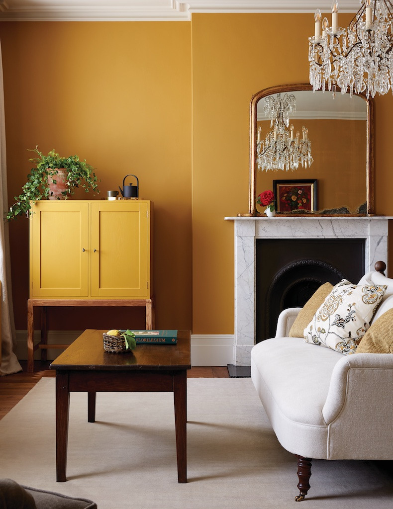 mustard coloured traditional living room - Interior Design Melbourne - Leeder Interiors