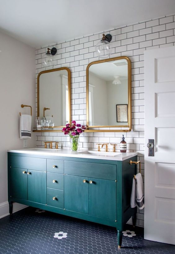 Colour of the moment...Teal. A classic bathroom with a teal vanity.