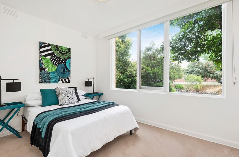 Bedroom with Teal accents - Leeder Interiors - Melbourne Interior Design