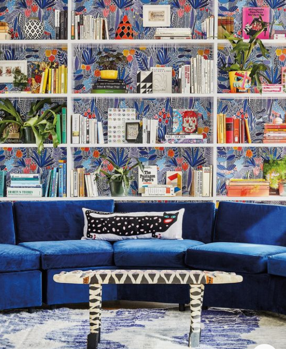 Wallpapered Bookshelf - Eclectic Colourful Interior Design